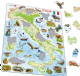 Map of Italy/ Italia Animals - Frame/Board Jigsaw Puzzle 29cm x 37cm (LRS  K83-IT)